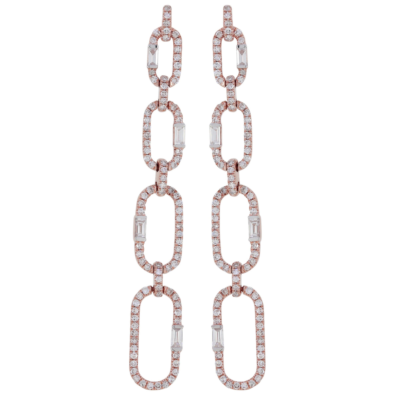 Dangle Diamond Earring in 18K Rose Gold