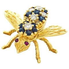 Herbert Rosenthal Sapphire and Diamond Bee Pin in Gold