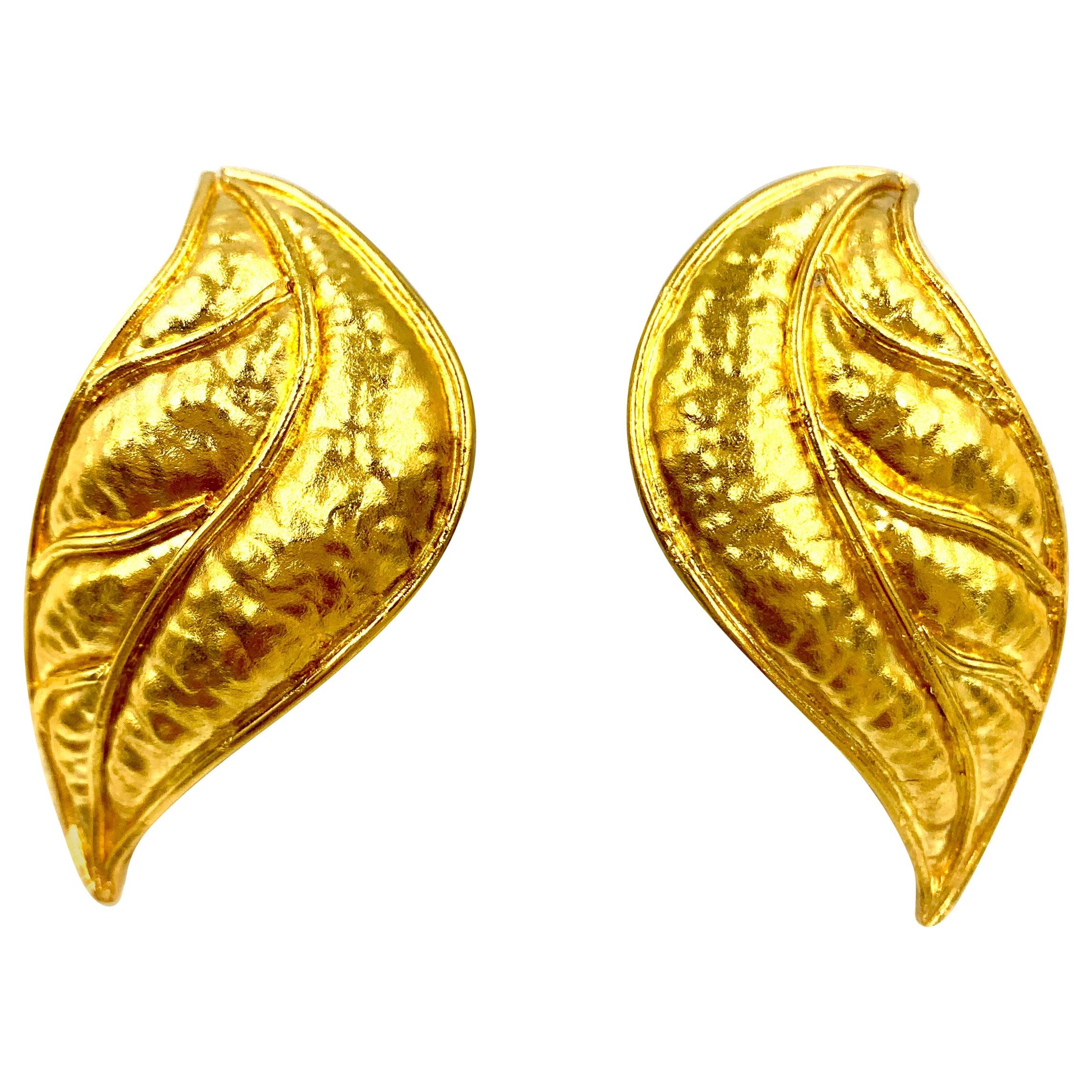 Statement Hammered Gold Laurel Leaf Earrings, 18 Karat, Classic Greek Design