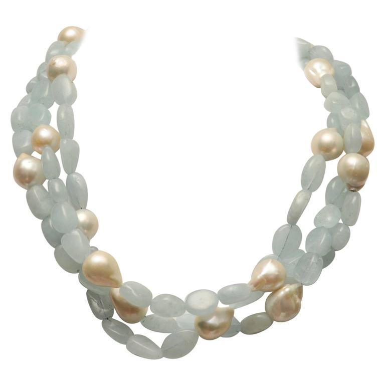 Tumbled Aquamarine Baroque Pearl Necklace