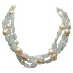 Tumbled Aquamarine Baroque Pearl Necklace