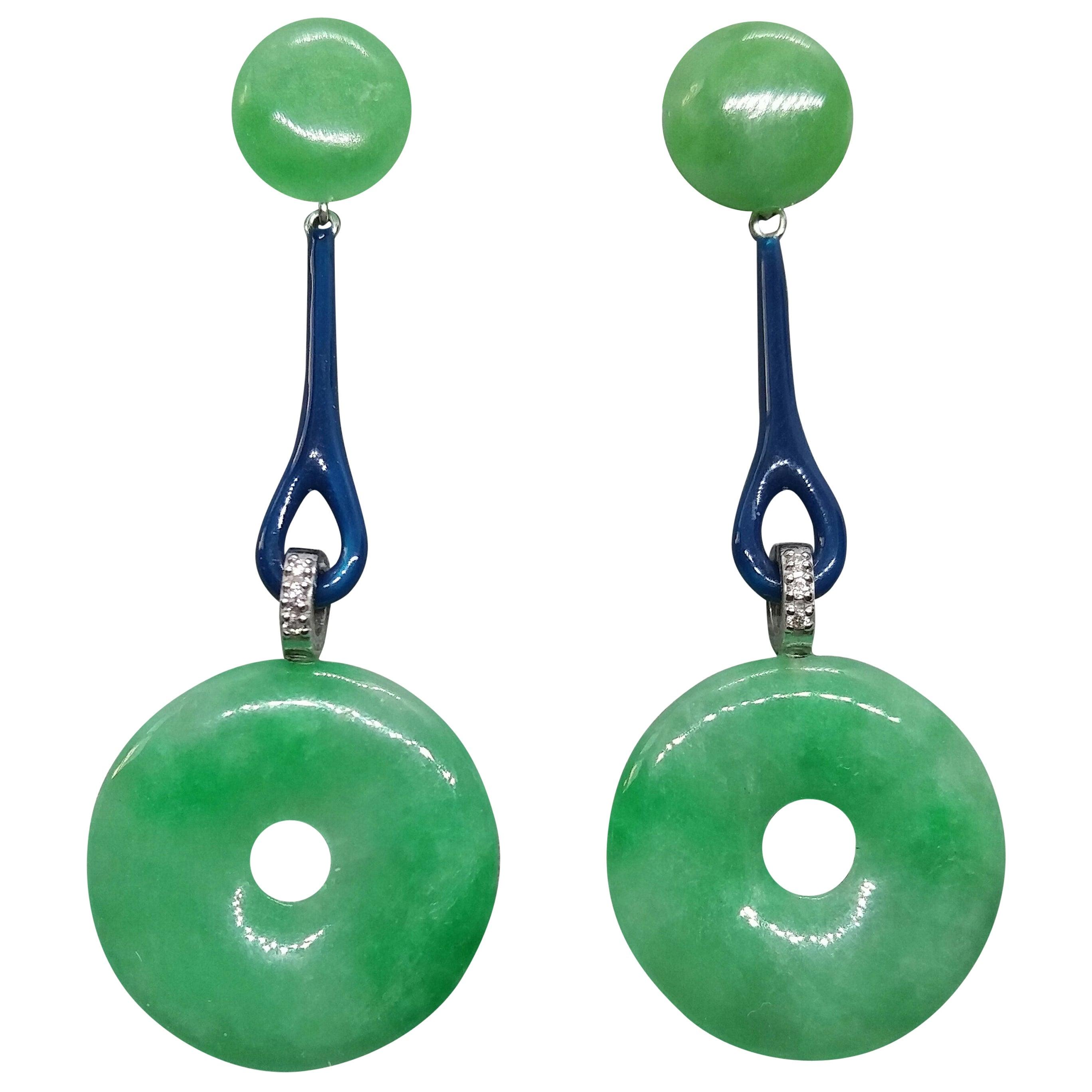 Art Deco Style Burma Jade Discs Gold Diamonds Blue Enamel Dangle Earrings