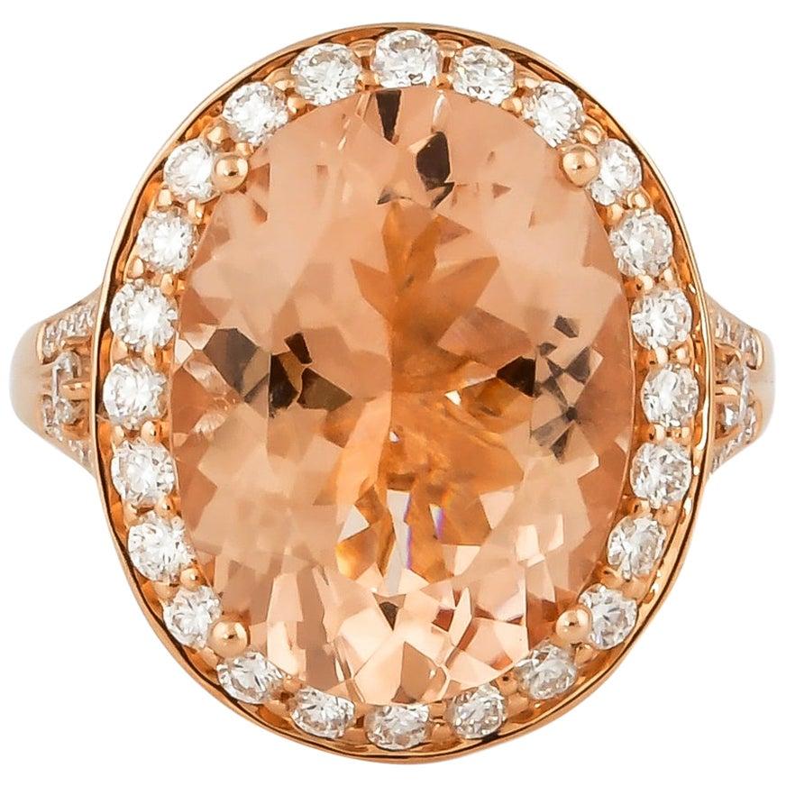 8.0 Carat Morganite and Diamond Ring in 18 Karat Rose Gold