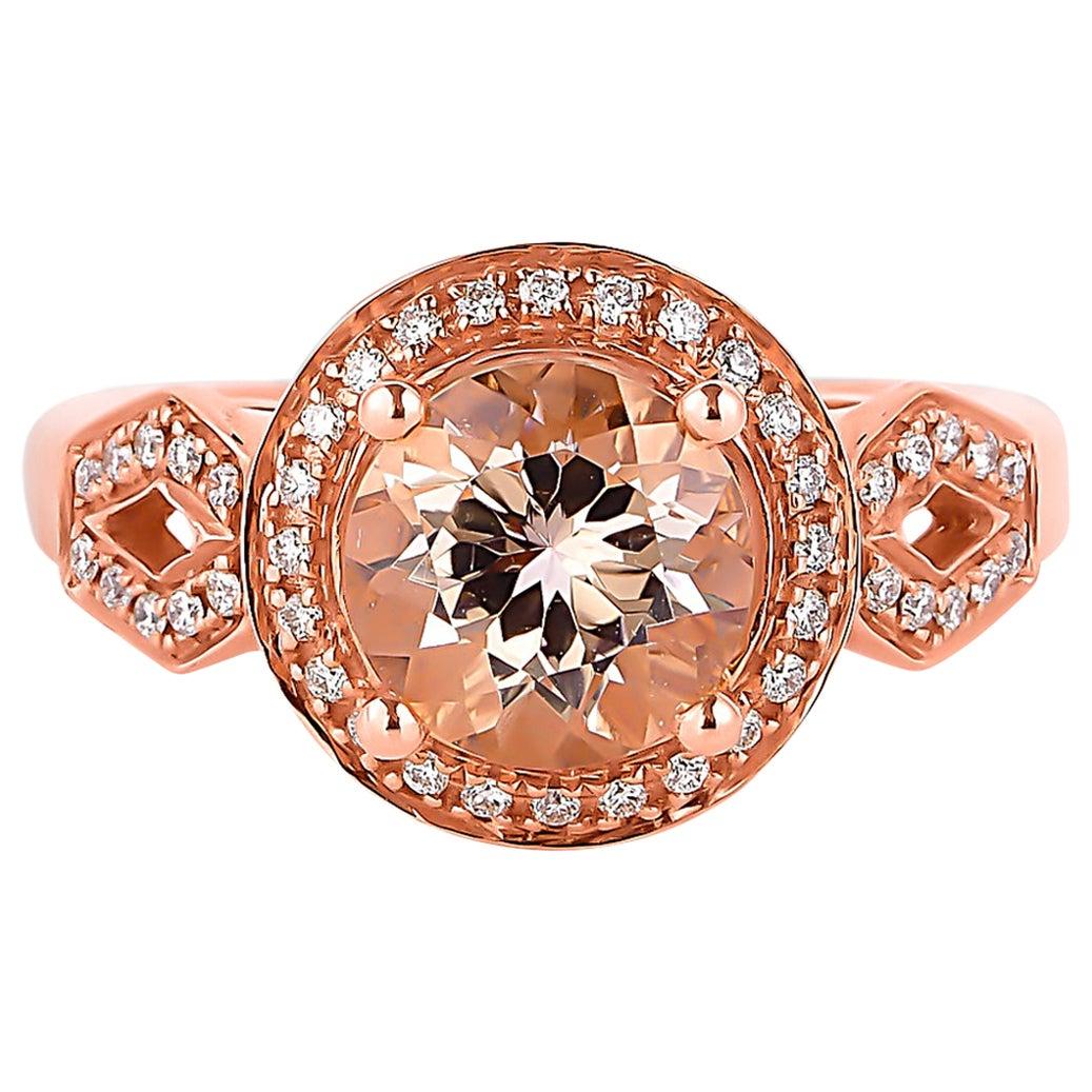 1.7 Carat Morganite and Diamond Ring in 18 Karat Rose Gold