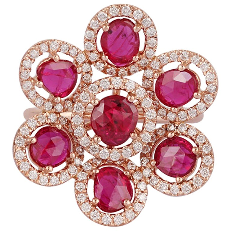 Ruby and Diamond Ring Studded In 18 Karat Rose Gold