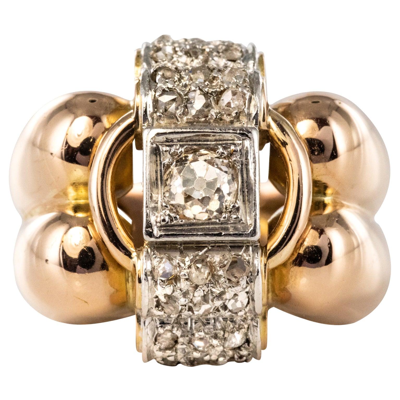 1940s Retro Diamond 18 Karat Rose Gold Platinum Large Gadroons Tank Ring