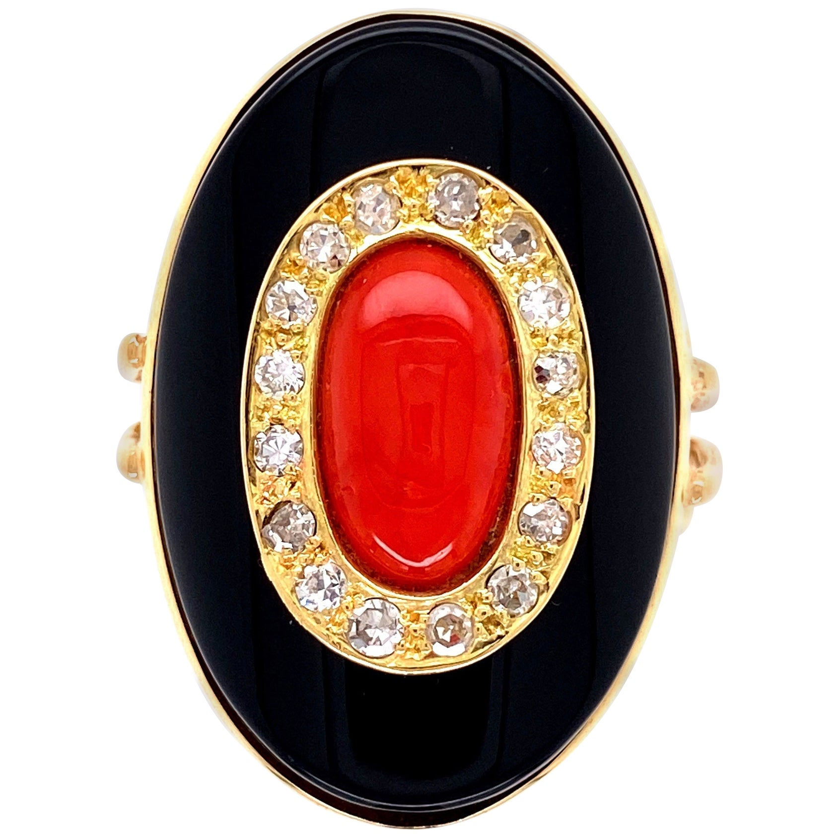 Red Coral Diamond and Onyx Art Deco Style Gold Ring Estate Fine Jewelry