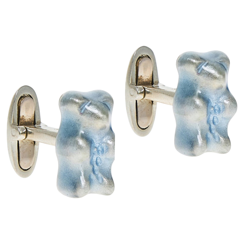 Cufflinks Gummy Bear Raspberry Unisex Gift 18k Silver Gold-Plated Greek Jewelry