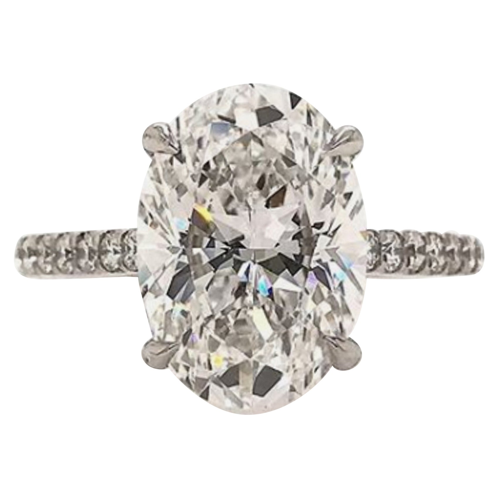 GIA Certified 4 Carat Oval Natural Diamond Ring