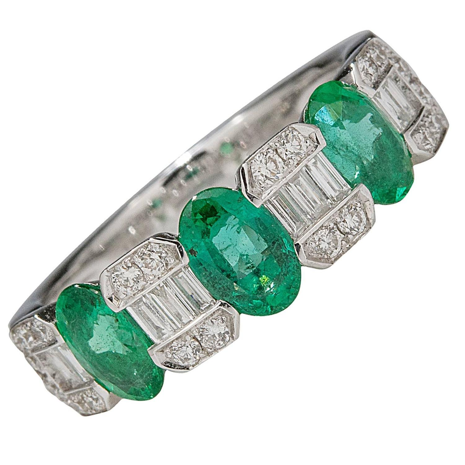 emerald and half eternity band for sale at 1stdibs