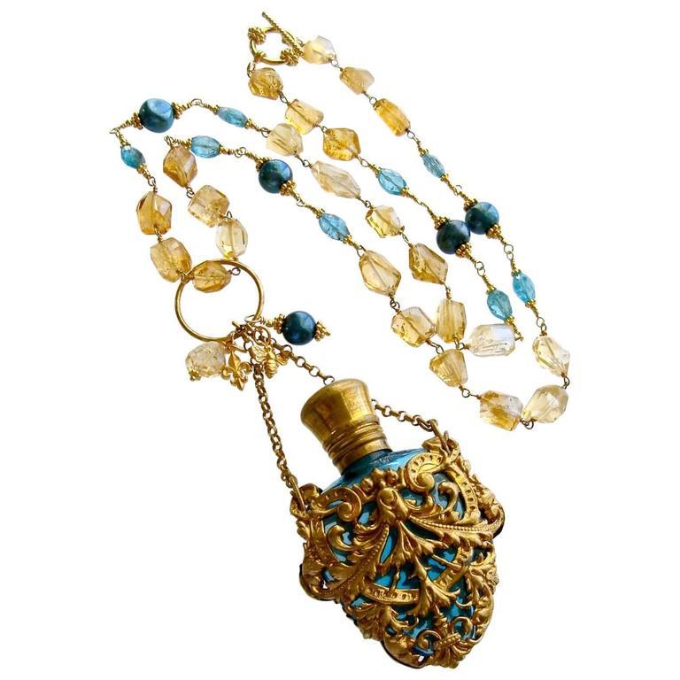 Citrine Nugget Apatite Cartouche Chatelaine Scent Bottle Necklace