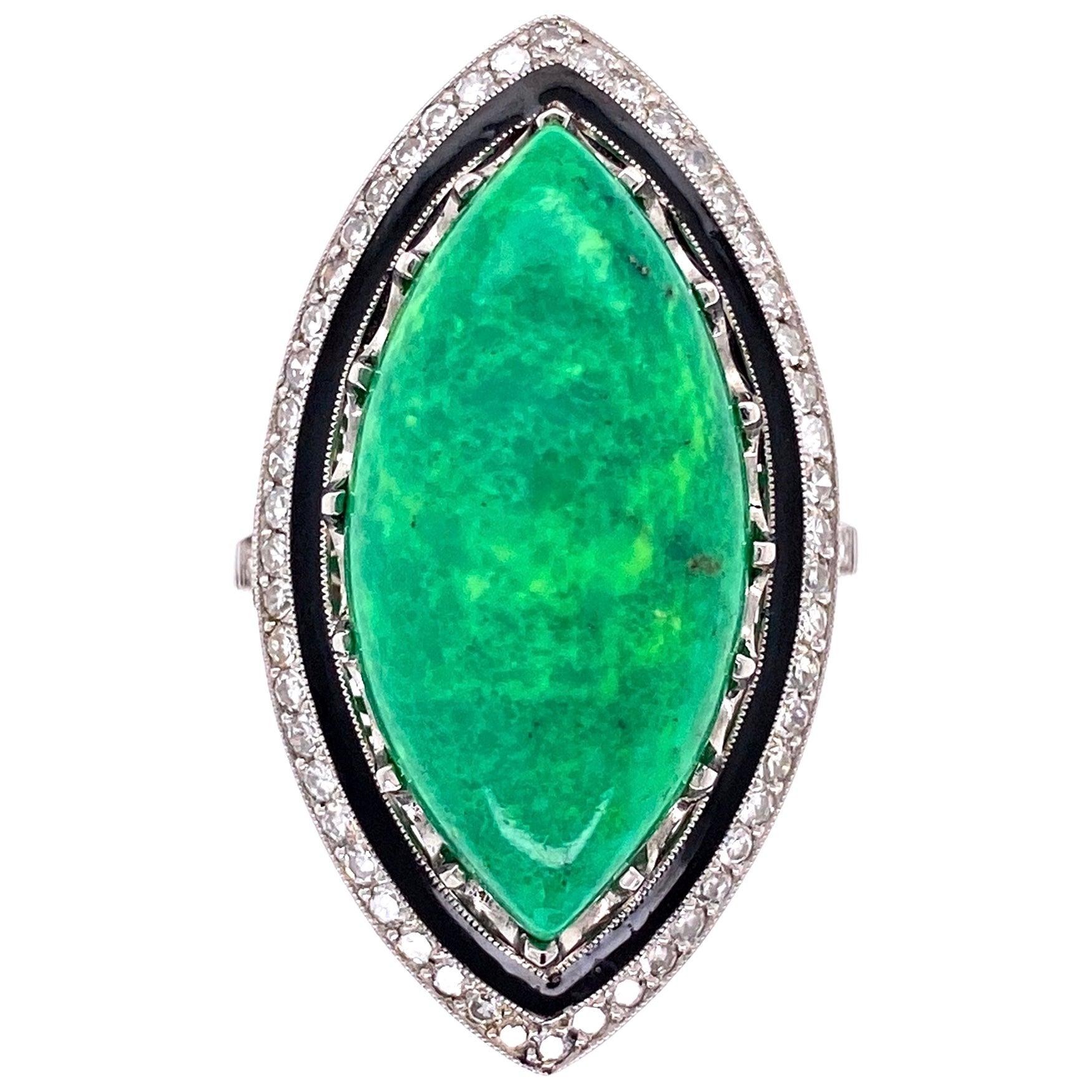 Art Deco Style Turquoise Enamel and Diamond Platinum Ring Estate Fine Jewelry