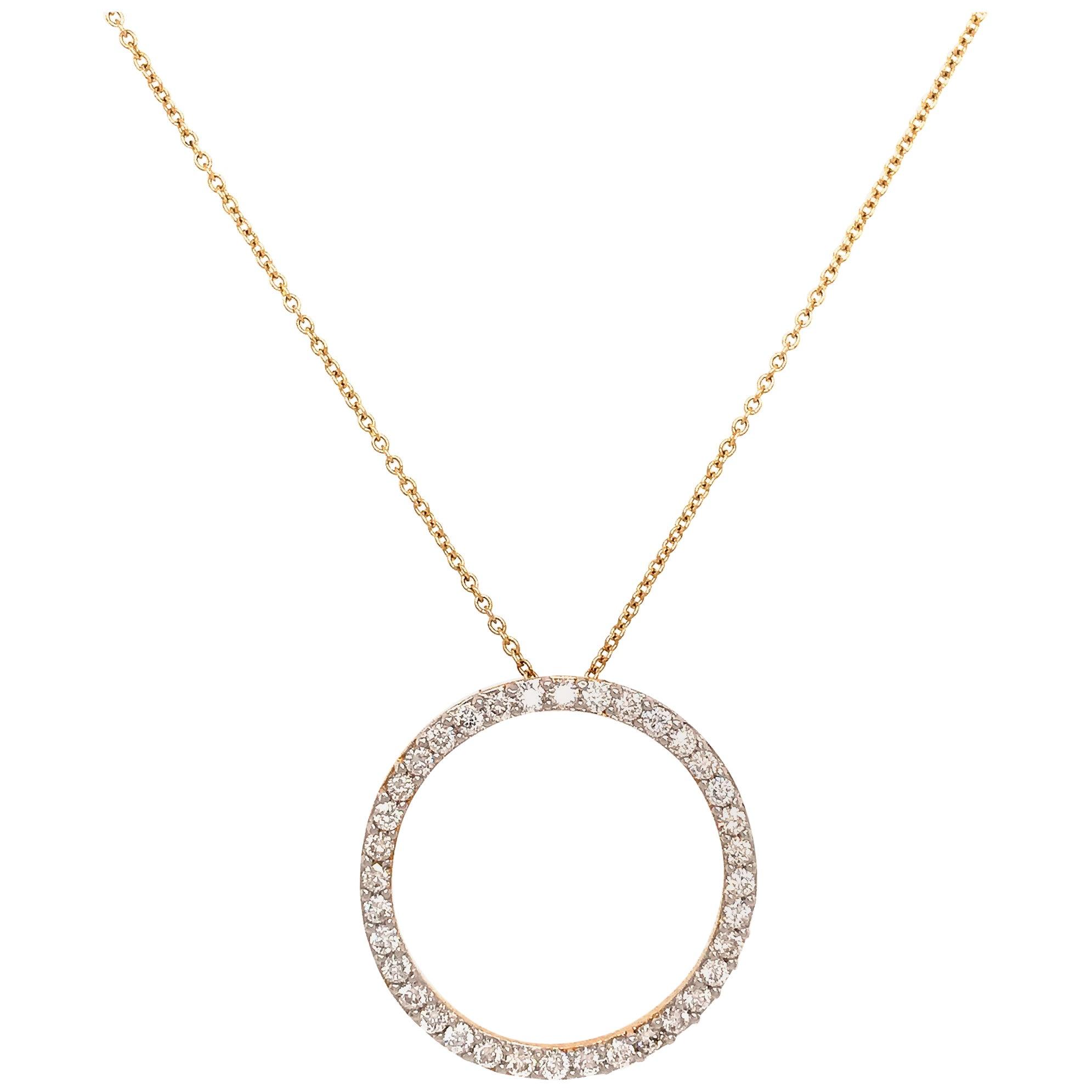 Contemporary 14 Karat Yellow Gold Circle Diamond Pendant Necklace