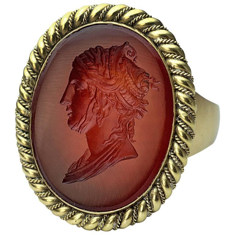 Napoleonic Era Antique Intaglio Gold Signet Ring