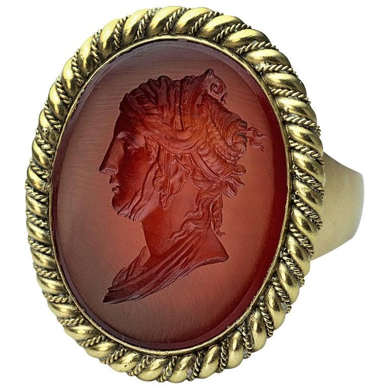 Napoleonic Era Antique Intaglio Gold Signet Ring For Sale