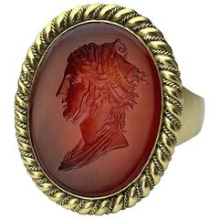 Napoleonic Era Antique Intaglio Gold Signet Ring