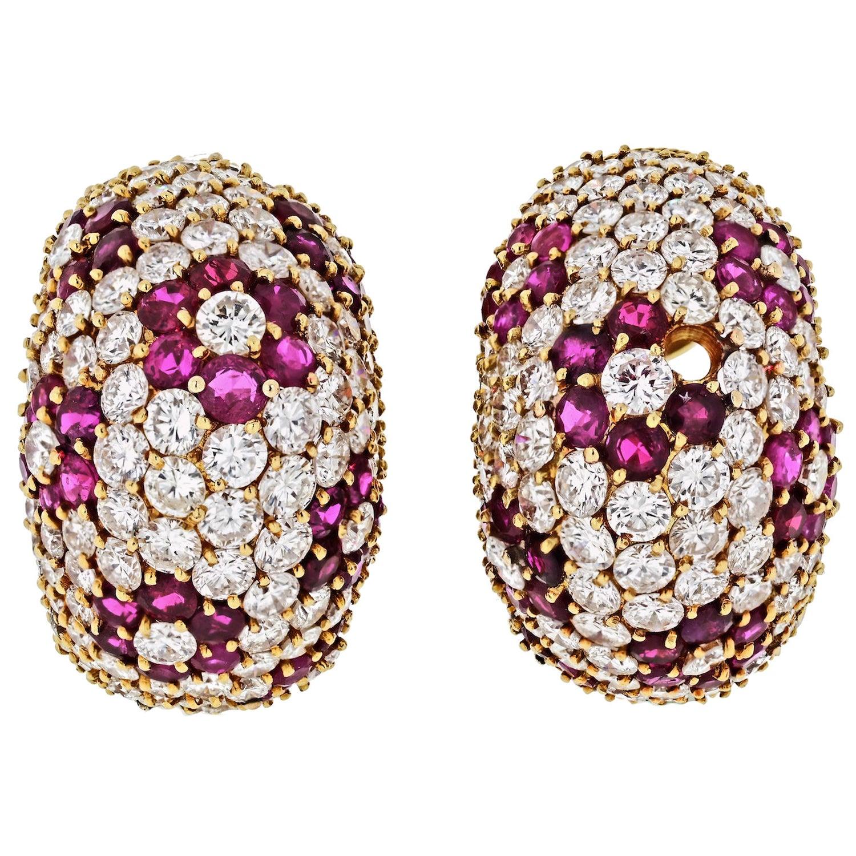 Diamond and Ruby Floral Huggie Hoop Pave Earrings