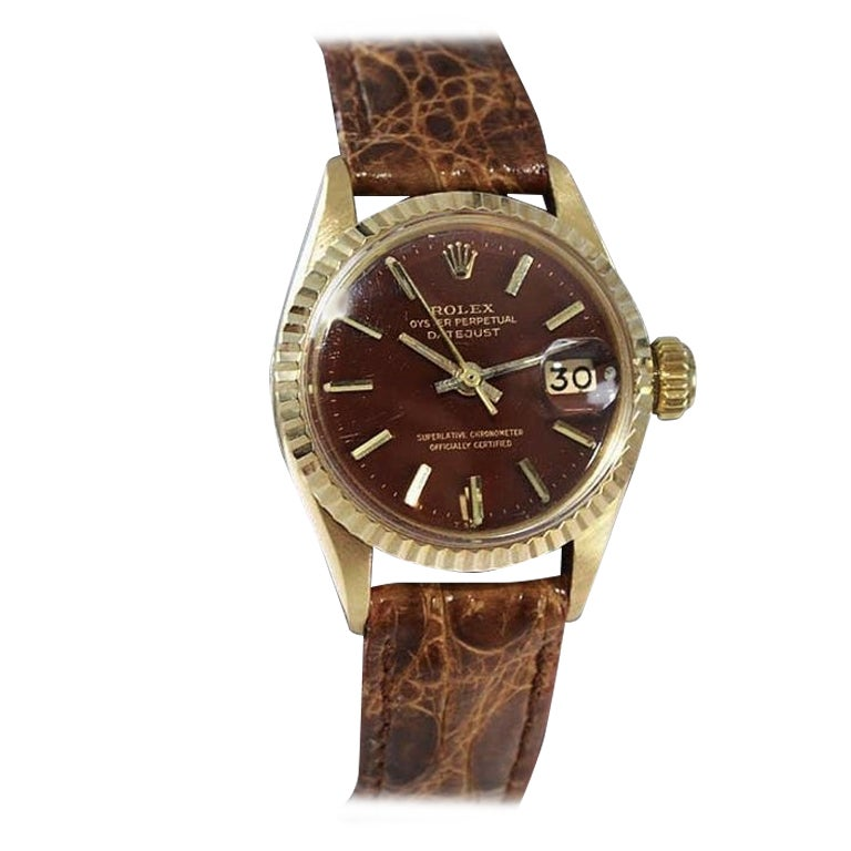 Rolex 18Kt Yellow Gold Ladies Datejust Ref 6517 Custom Brown Dial from 1968-1969