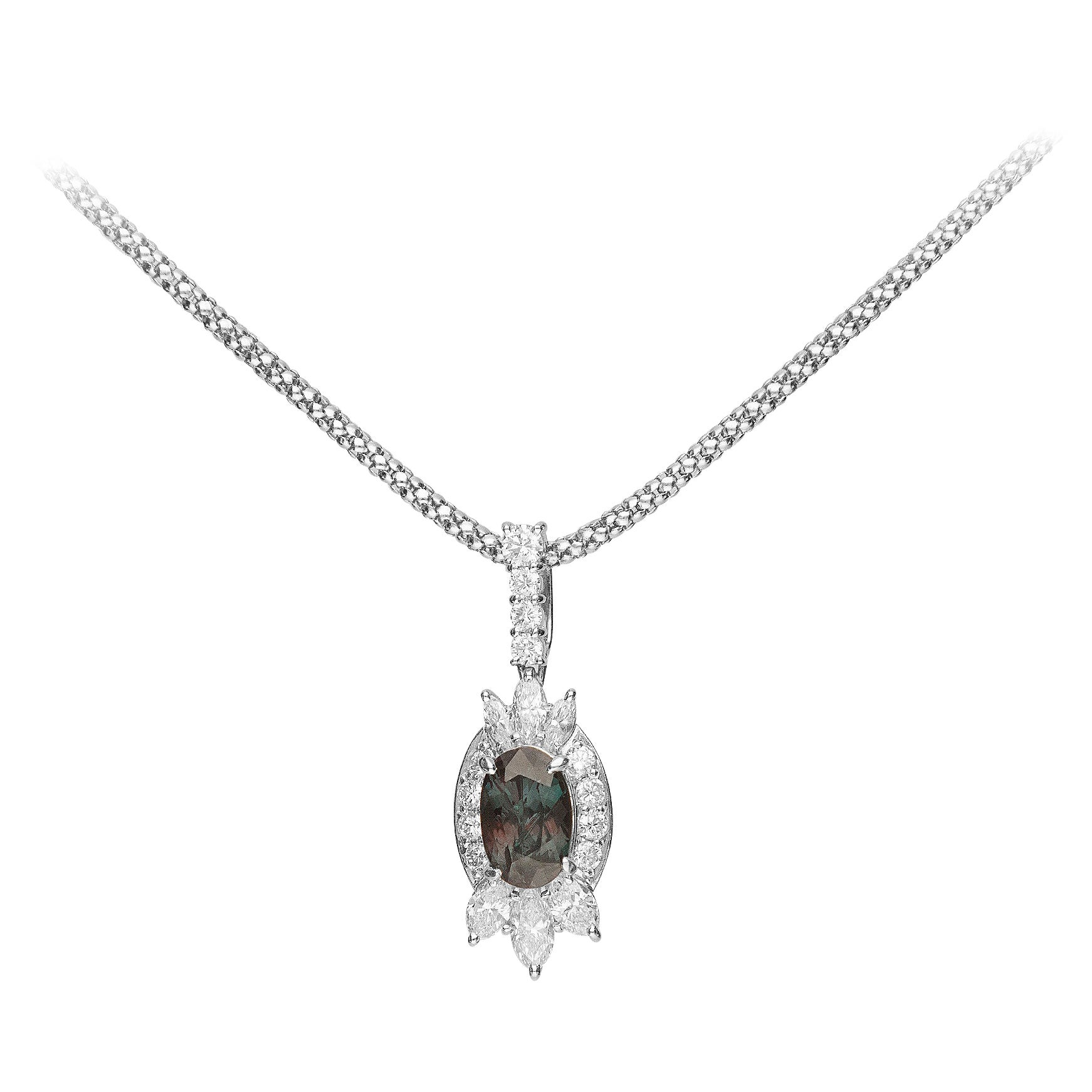 1.70 Carat Alexandrite and Diamond Pendant Necklace