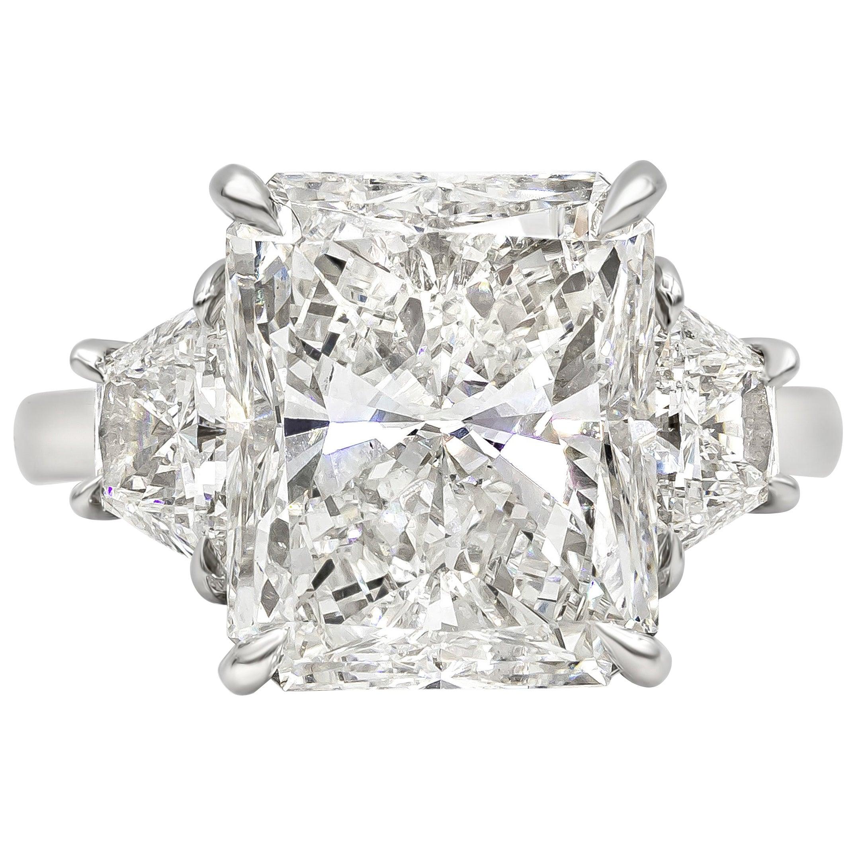 GIA Certified 7.03 Carat Radiant Cut Diamond Three-Stone Engagement Ring