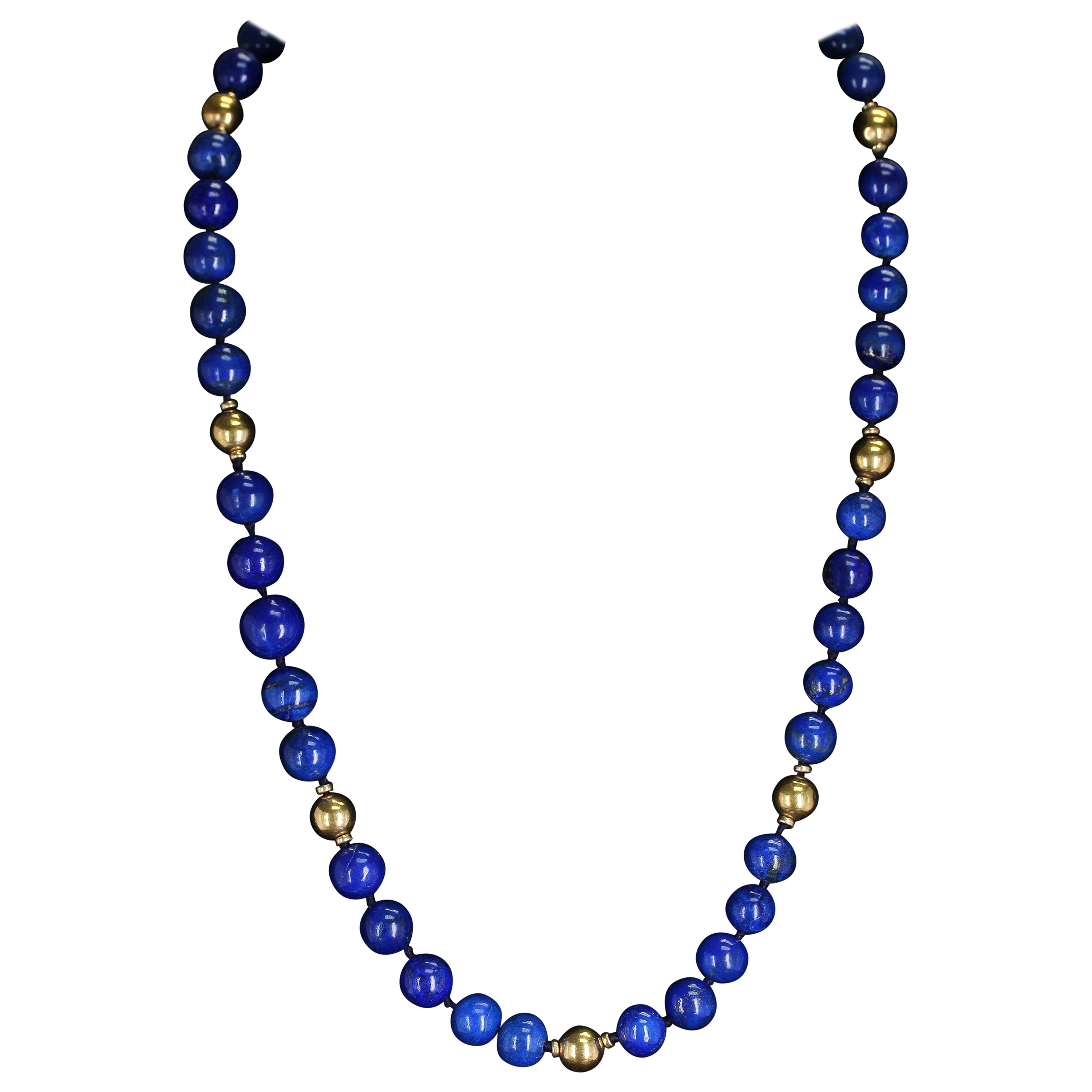 Large and Round Lapis Lazuli Beads and Gold Beads Necklace