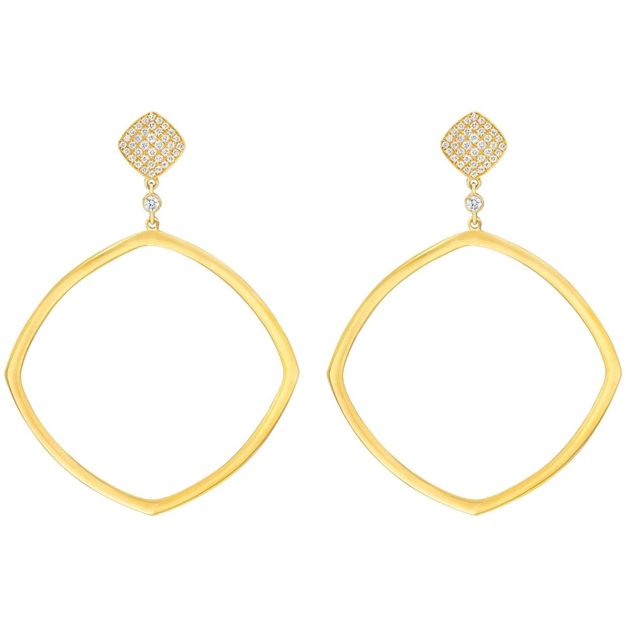 18 Karat Modern Diamond Grand Hoop Earrings