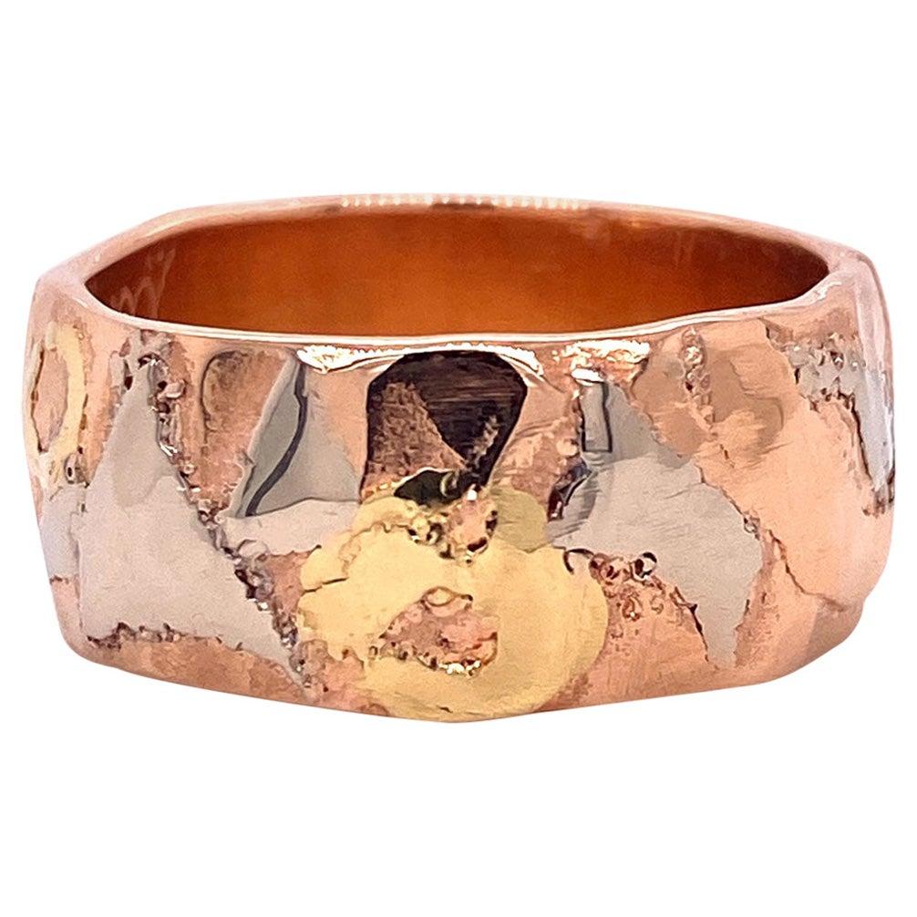 18 Karat Rose Gold Band with 18 Karat White and Yellow Gold Hammered Detail