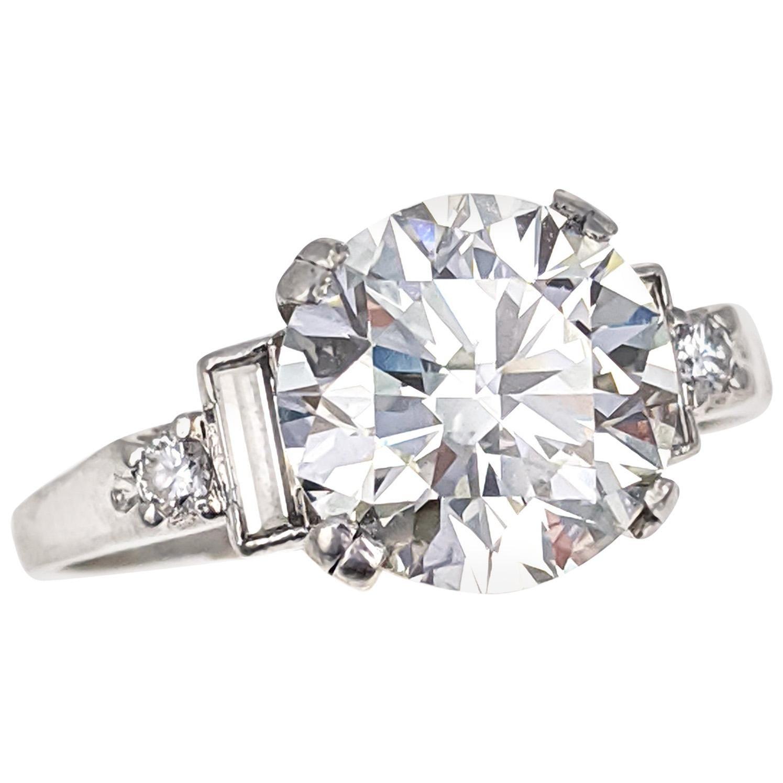 3.02 Carat GIA Certified Round Brilliant Cut Diamond Platinum Engagement Ring