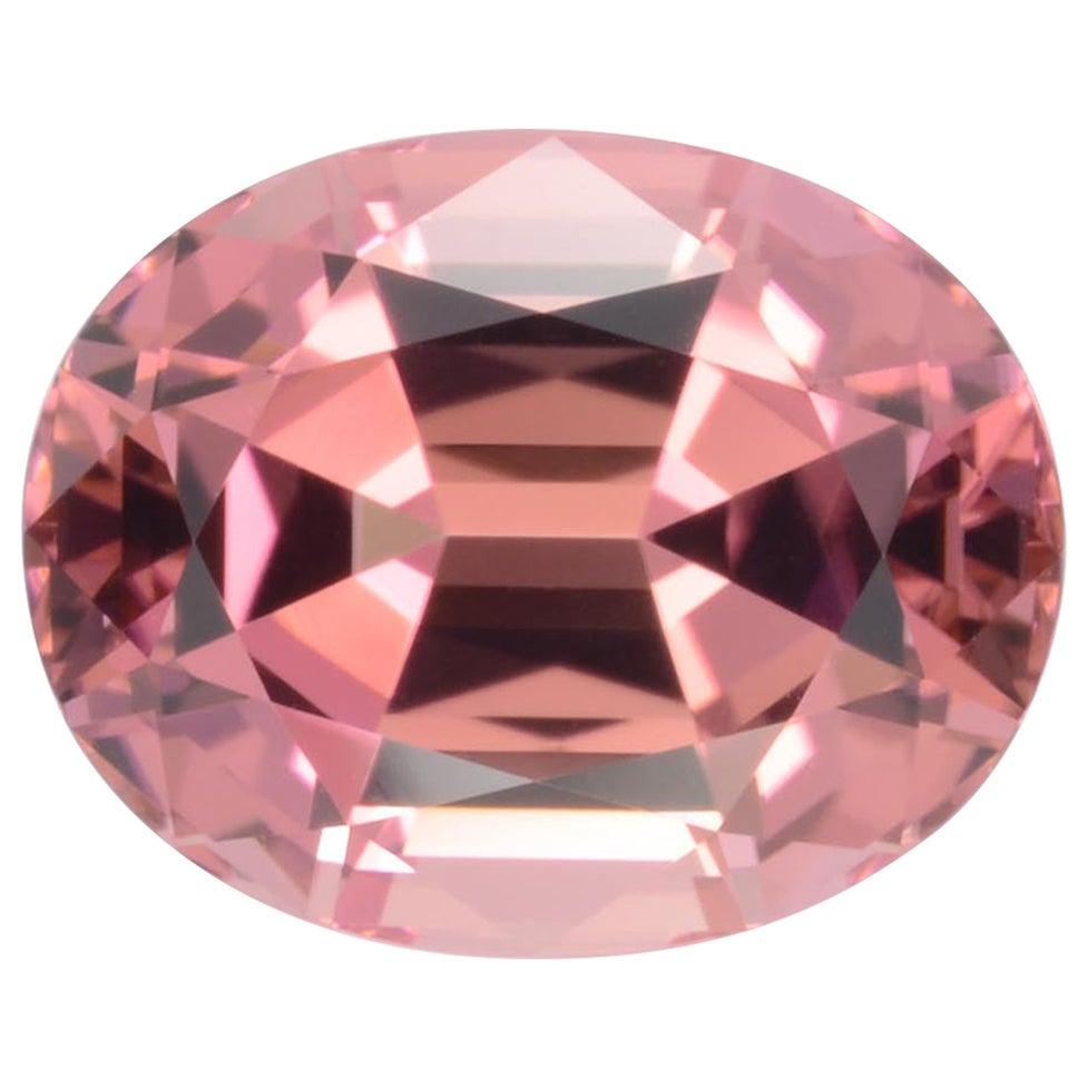 Orangey Pink Tourmaline Ring Gem 6.48 Carat Unset Oval Loose Gemstone
