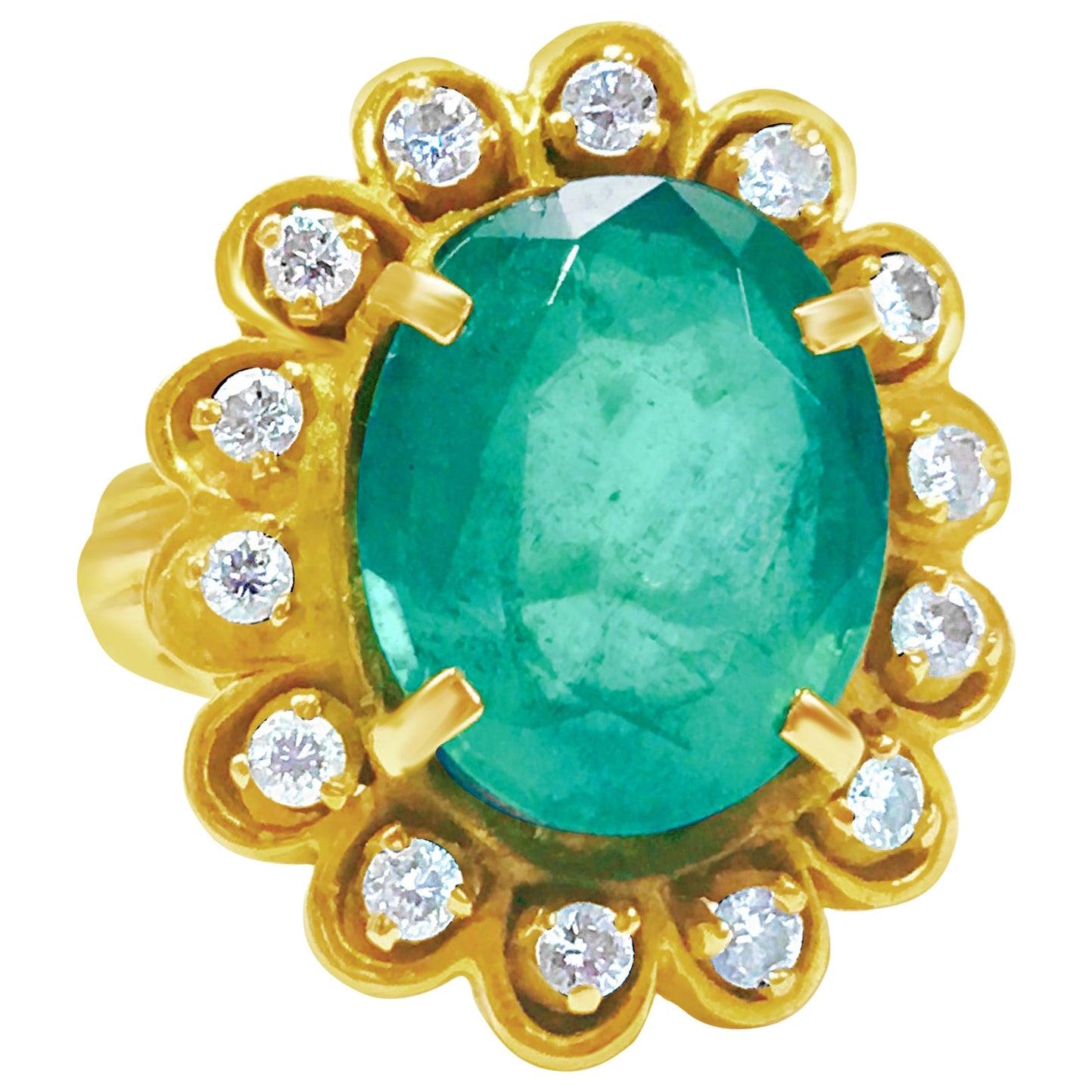 Vintage 5.50 Carat Natural Emerald and Diamond Ring