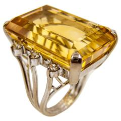 Sparkly Citrine Diamond Gold Cocktail Ring