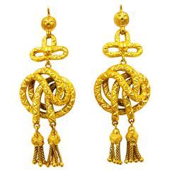 Spectacular Victorian Gold Tassel Earrings