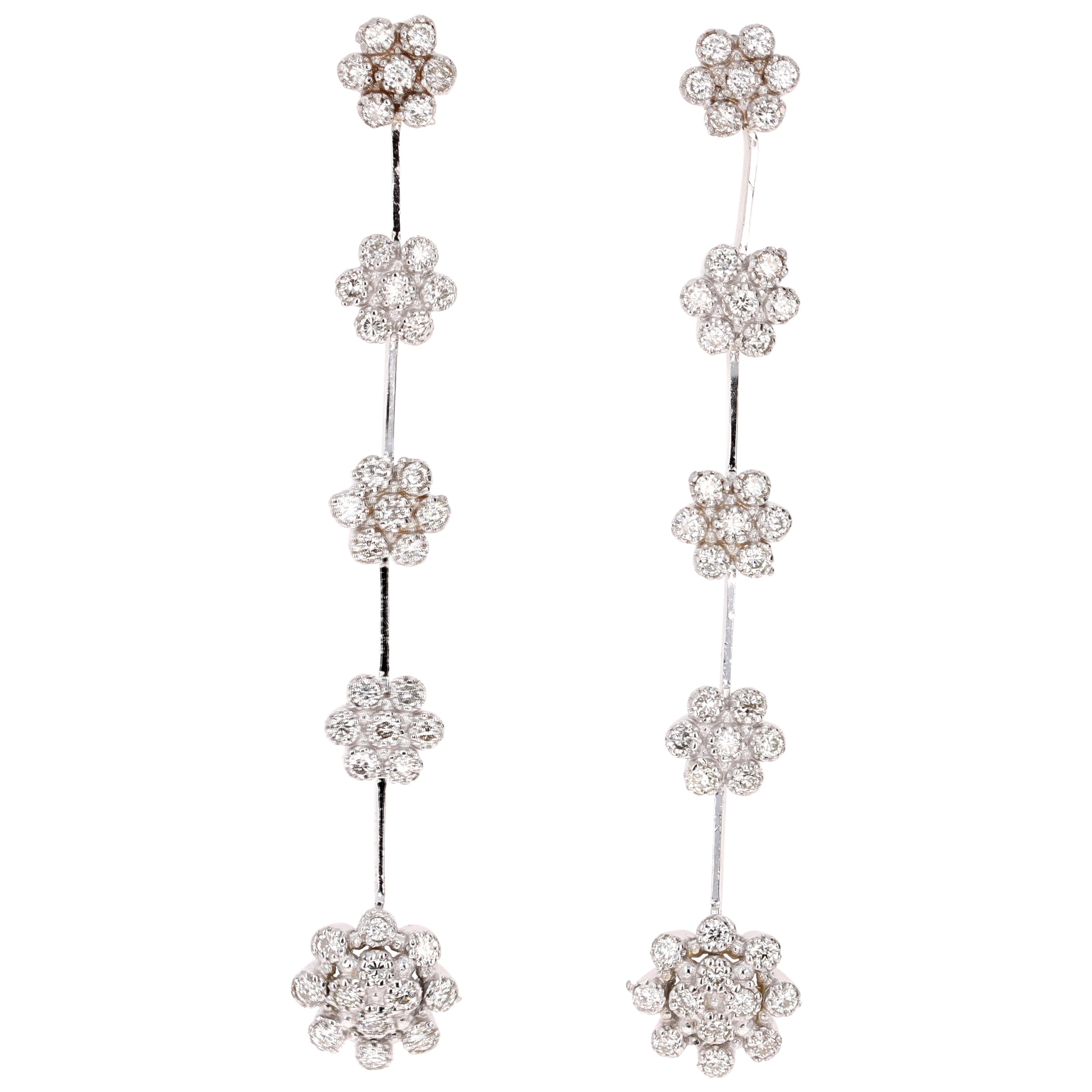 0.95 Carat Diamond Dangling 14 Karat White Gold Earrings