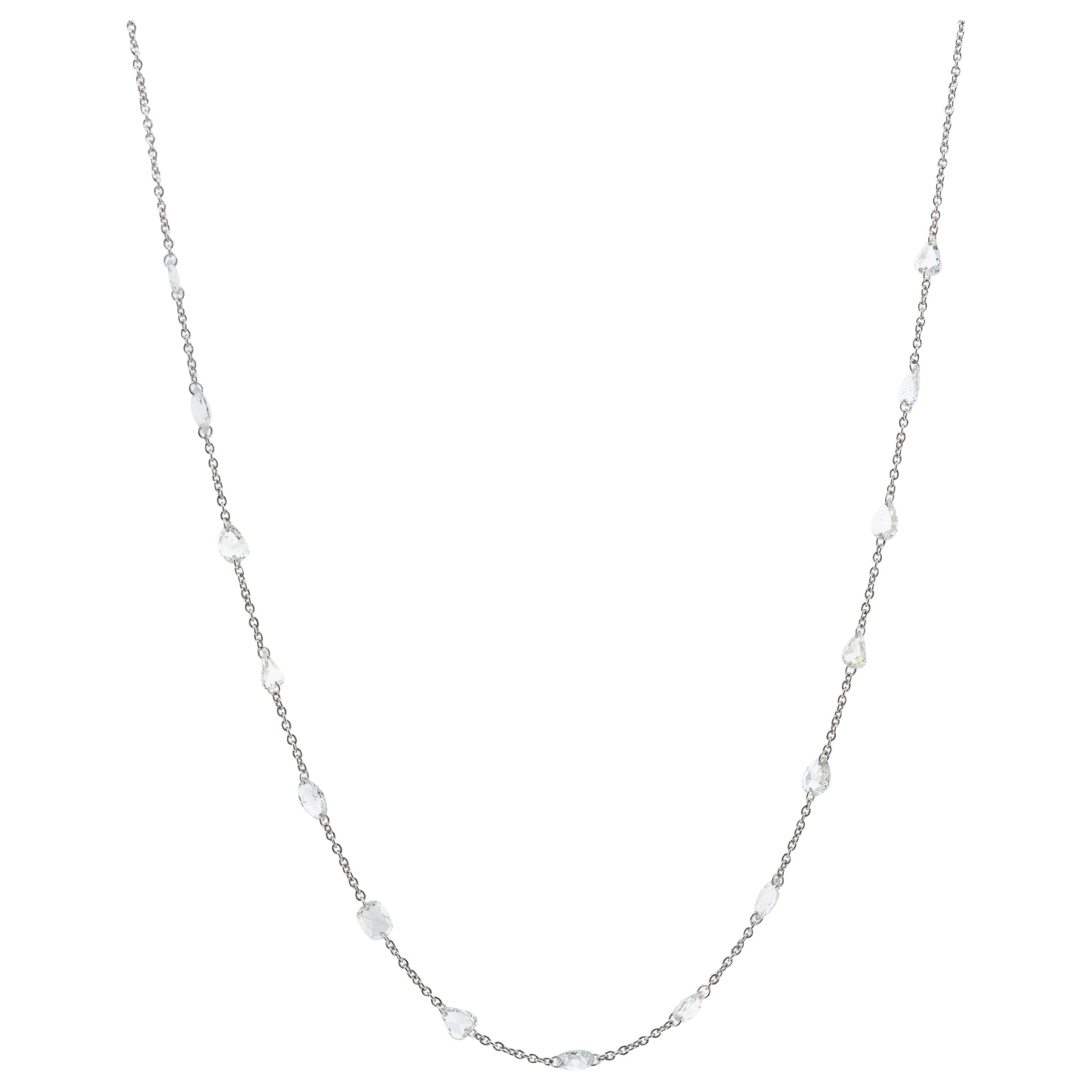 JR 2.13 Carat White Rose Cut 18 Karat White Gold Necklace