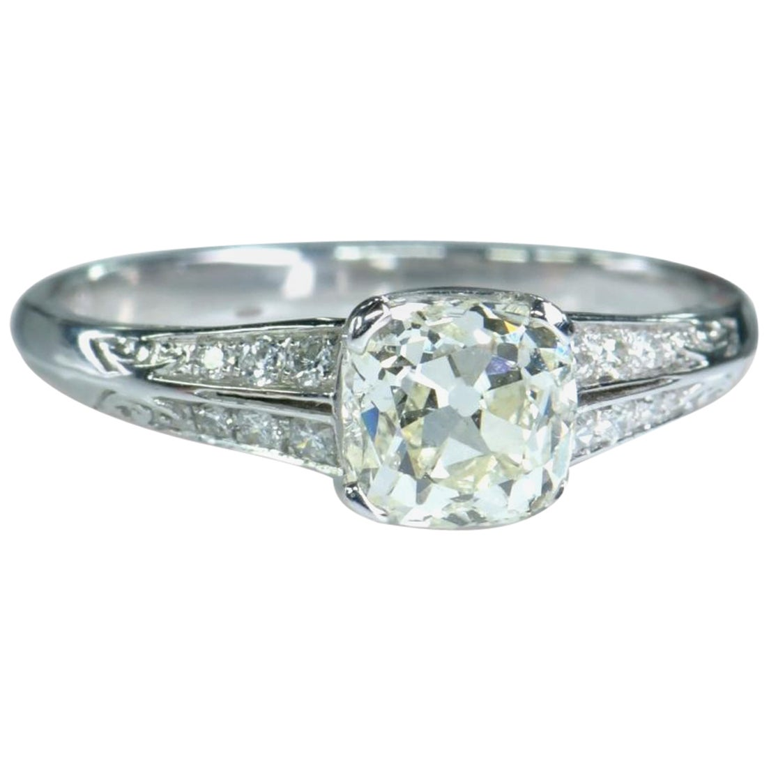 Art Deco Style 18 Karat White Gold and Diamond Solitaire Ring