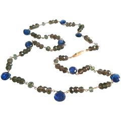 Dalben kyanite green sapphire fumè quartz gold necklace