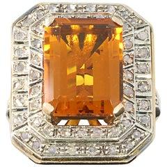 Art Deco Large Citrine Diamond Silver Gold Ring