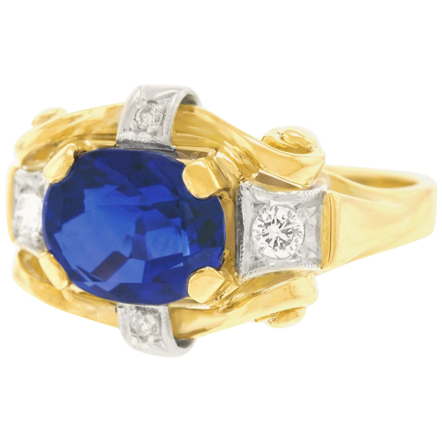 4.01 Carat Sapphire and Diamond Art Deco Ring