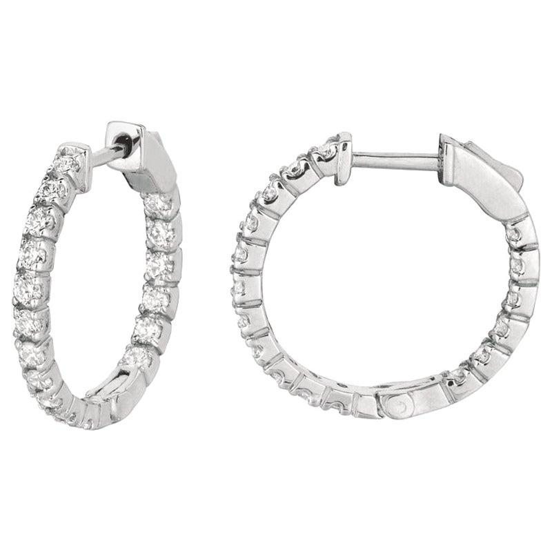1.00 Carat Natural Diamond Hoop Earrings G-H SI in 14 Karat White Gold