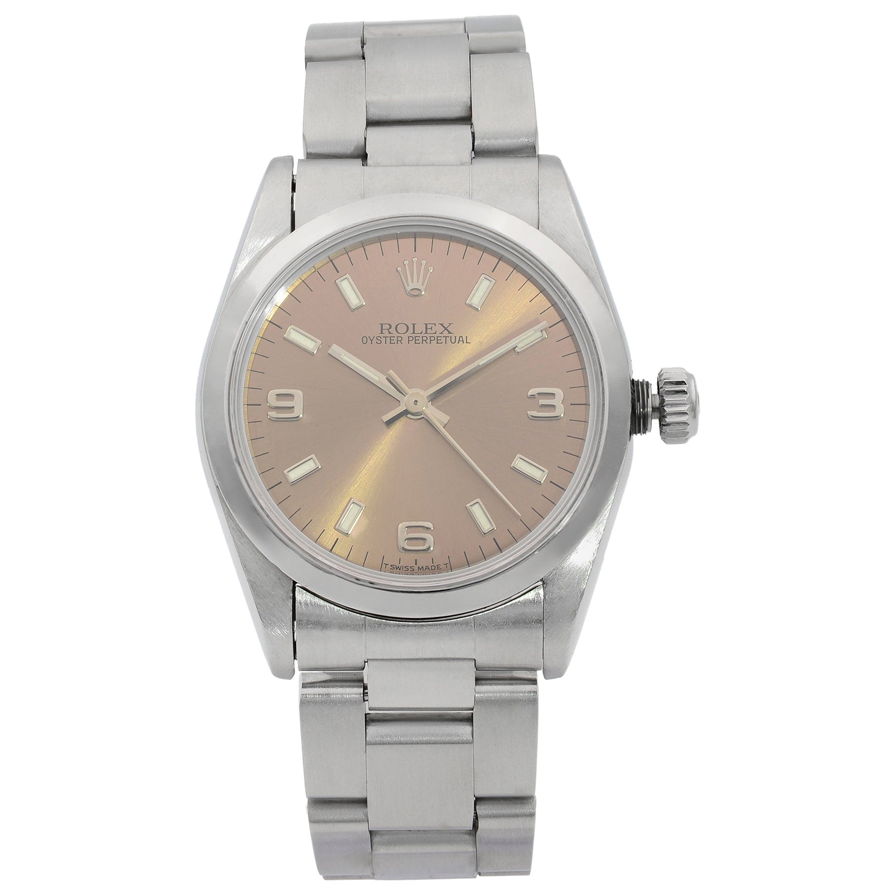 Rolex Oyster Perpetual Stainless Steel Bronze Dial Automatic Ladies Watch 67480