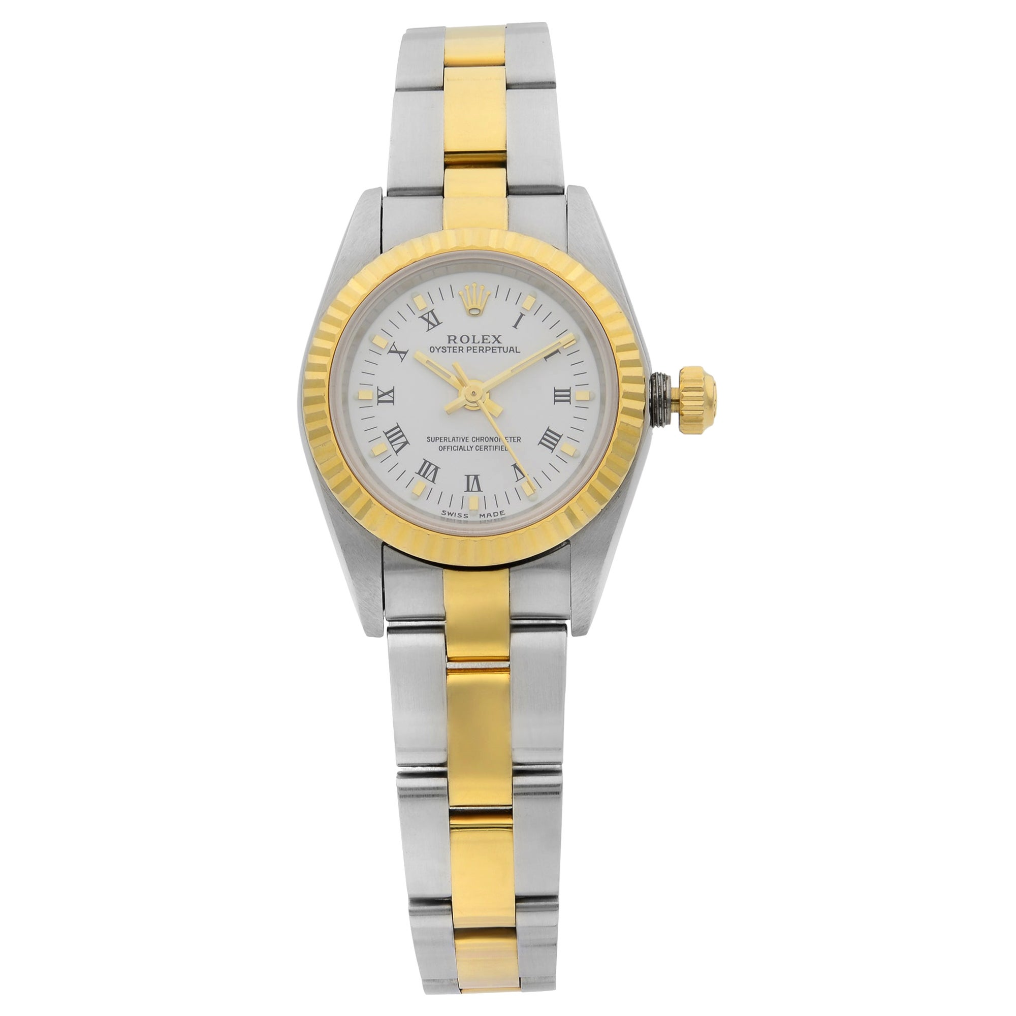 Rolex Oyster Perpetual 18 Karat Gold Steel White Roman Dial Ladies Watch 76193