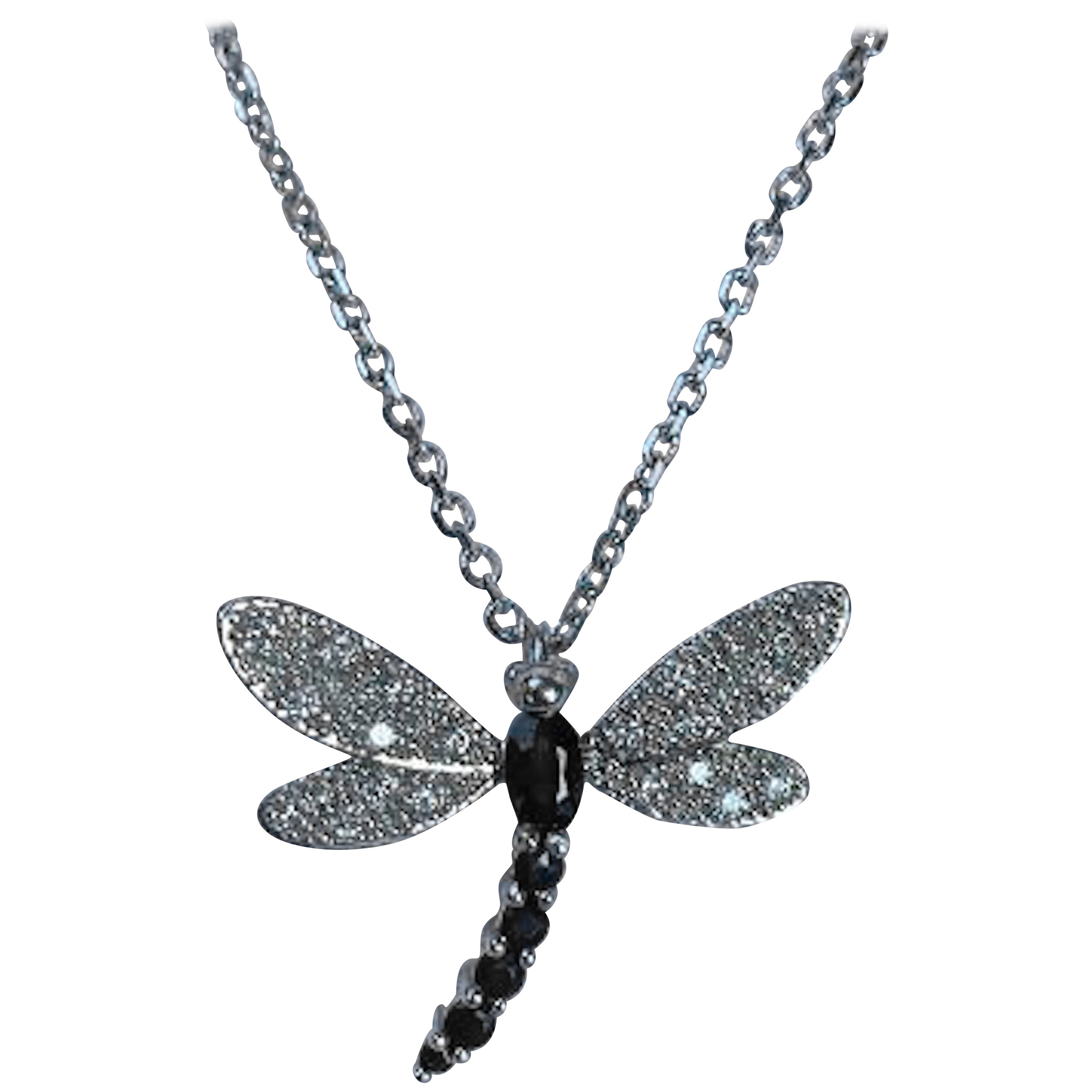 Shimmering 14 Karat White Gold Diamond and Sapphire Dragonfly Pendant on Chain