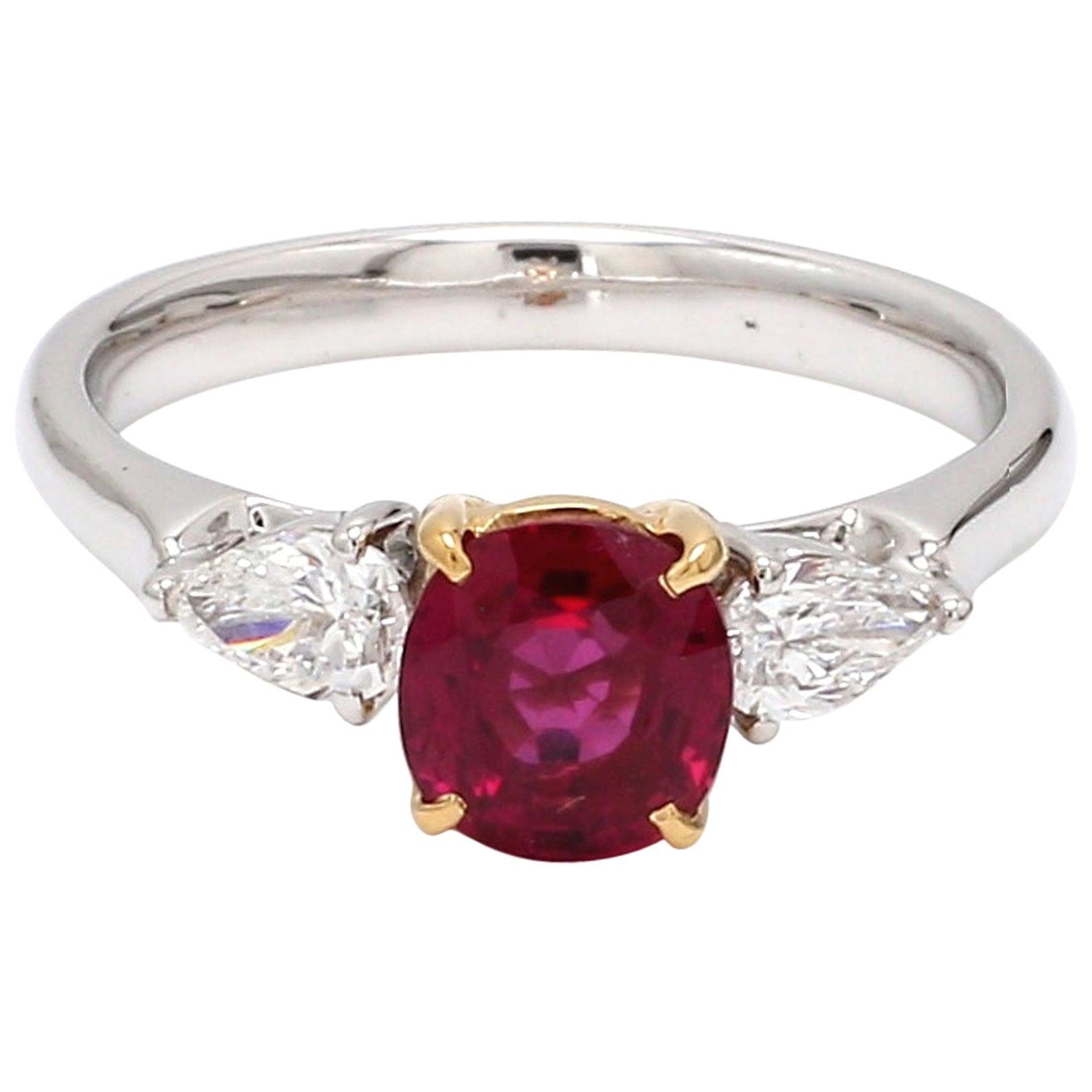 GIA Certified Burma No Heat Ruby Diamond 18 Karat White Gold Pear Diamond Ring