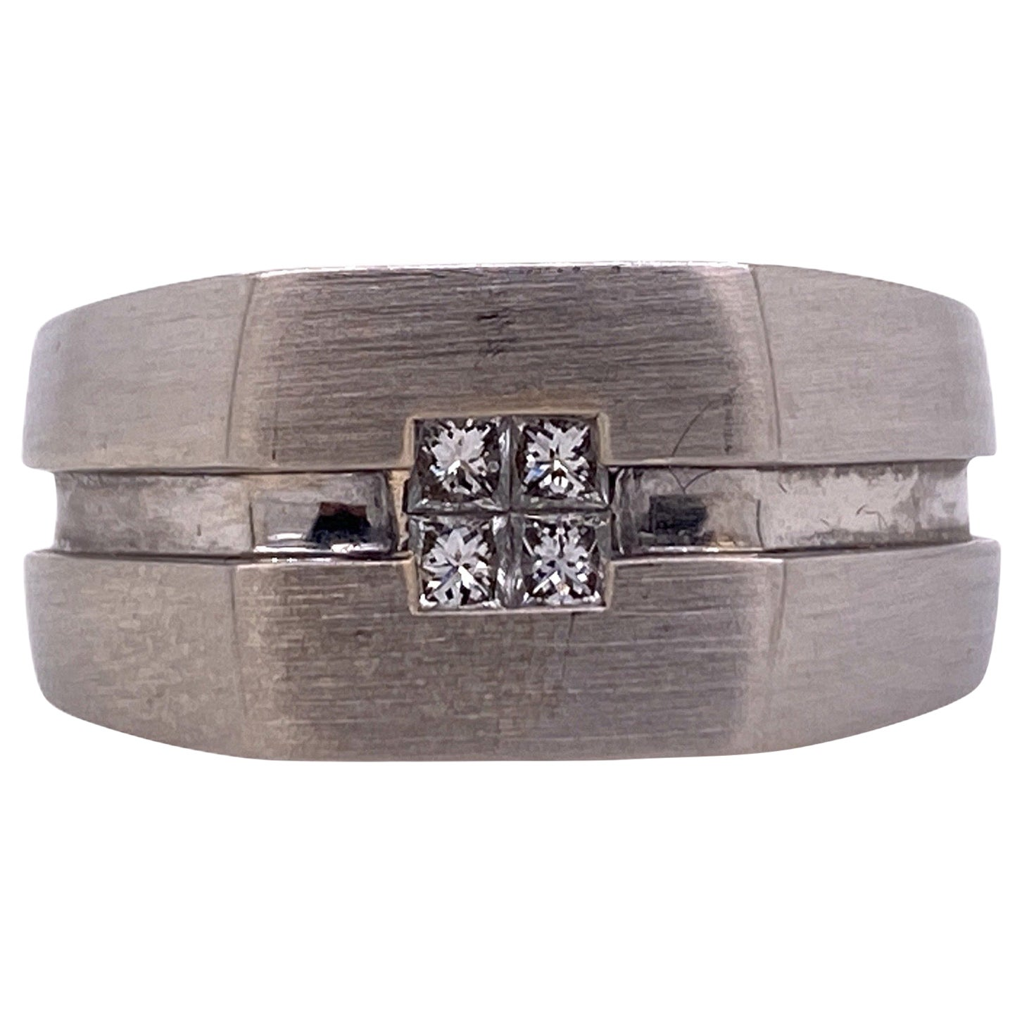 Effy Men's Diamond 14 Karat White Gold Wide Band Ring