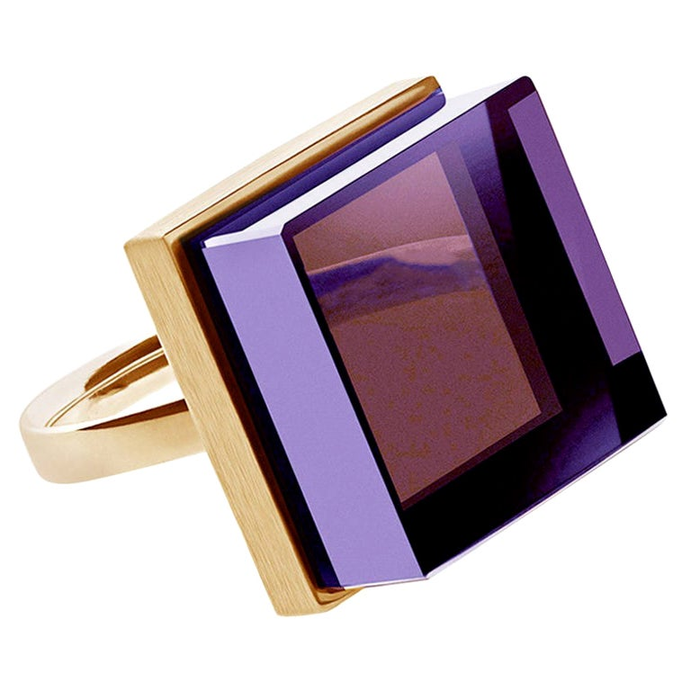 Yellow Gold-Plated Contemporary Ring with Amethyst, Featured in Vogue