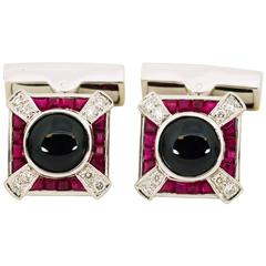 Onyx Ruby Diamond Gold Cufflink and Stud Set