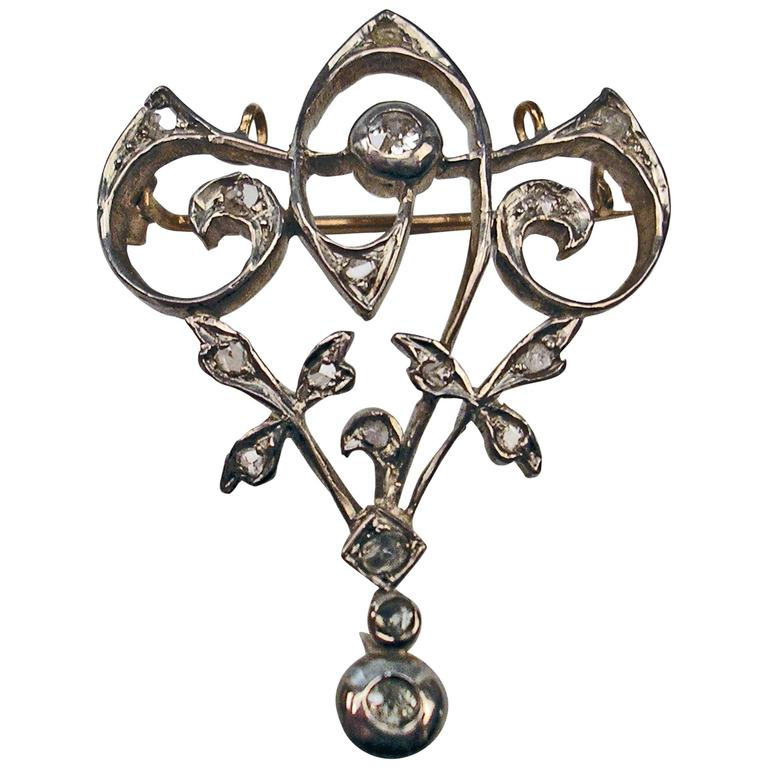 Art Nouveau Diamond Gold Flower Brooch and Pendant  For Sale