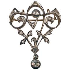 Art Nouveau Diamond Gold Flower Brooch and Pendant