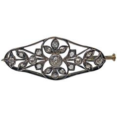 1900s Art Nouveau Diamonds 0.50 Carat Gold Flower Brooch