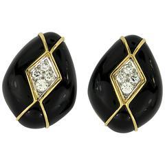 Turi Onyx Diamond gold Earrings